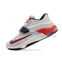 "For Sale Nike KD 7 (VII) ""USA July 4th"" White/Obsidian-University Red On Sale Discount Online"