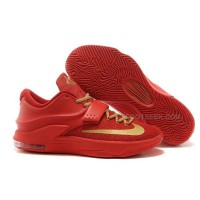 Nike Kevin Durant KD 7 Basketball Shoes Red Gold Discount Online