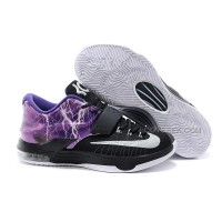 "Nike KD 7 Basketball Shoes ""Lighting"" Black Purple Silver Discount Online"