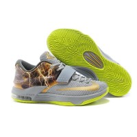 "Nike KD 7 Basketball Shoes ""Lighting"" Grey Volt Gold Discount Online"