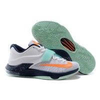 "Cheap Nike KD 7 Shoes ""Galaxy"" White/Navy Blue-Orange Discount Online"