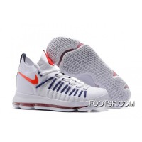 New Release Nike Air Zoom KD 9 Elite White/Dark-Blue Basketball Shoes
