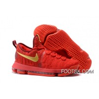 2016 Nike KD 9 Red Gold Men's Basketball Shoes New Style AhFCA