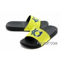 Nike KD Black Yellow Blue Slippers Discount
