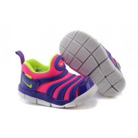 Nike Anti Skid Kids Wearable Breathable Caterpillar Running Shoes Purple Pink Fluorescent Green