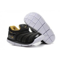 Nike Anti Skid Kids Wearable Breathable Caterpillar Running Shoes Black Gold White