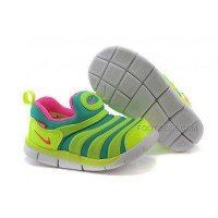Nike Anti Skid Kids Wearable Breathable Caterpillar Running Shoes Fluorescent Green Roses Green