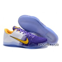 Nike Kobe 11 White Purple Yellow Men's Basketball Shoes Online AY5dD