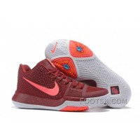 Nike Kyrie 3 Mens BasketBall Shoes Burgundy Authentic