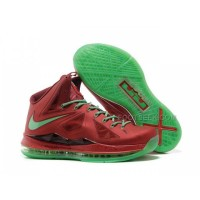 New Nike Lebron 10(X) Christmas Shoes Red/Green Discount