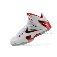 "New Nike LeBron 11 Elite ""Home"" PE White-Red/Wolf Grey For Sale"