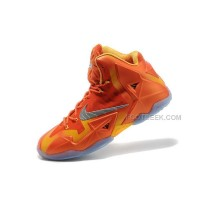 "Nike LeBron 11 ""Forging Iron"" Urban Orange/Light Armory Blue-Laser Orange Sale"