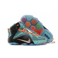 Authentic Nike LeBron 12 Teal/Orange-Black