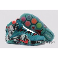 2014 'Akron Birch' Nike LeBron 12 Emerald Green/Dark Emerald-Hyper Punch Authentic SDK5bXm