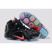 2014 'Data' Nike LeBron 12 Black/Bright Mango-Hyper Punch-Volt For Sale NJ8sG