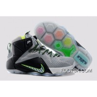 2014 'Dunk Ce' Nike LeBron 12 Wolf Grey/Reflect Silver-Black-Electric Green For Sale 7kcCSfK