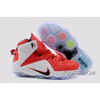 2014 'Heart Of A Lion' Nike LeBron 12 University Red/Black-White-Hyper Crimson Authentic XHjbXNi
