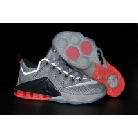 Lebron 12 Low Hot Lava PRM Wolf Grey Red Shoes