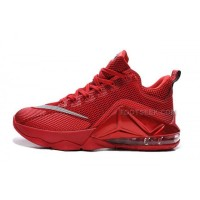 Lebron 12 Low PRM All Red Orange Shoes