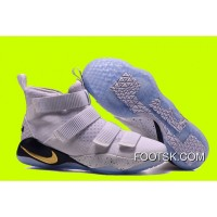 "Cheap Nike LeBron Soldier 11 ""Court General"" White/Metallic Gold-Black Best 6DnAR"