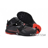 Top Deals Nike LeBron Soldier 9 Black And Red Highlights Basketball Shoe