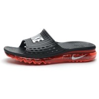 Mens Cheap Nike Air Max Sandals 2015 Black And Red Silver Hot