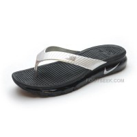 Nike Air Max 2015 Mens Slide Sandals Flip Flops Slipper Black And Silver For Sale Sale