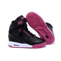 Nike Wmns Wedges Air Revolution Sky Hi Shoes Black And Pink Sale Cheap