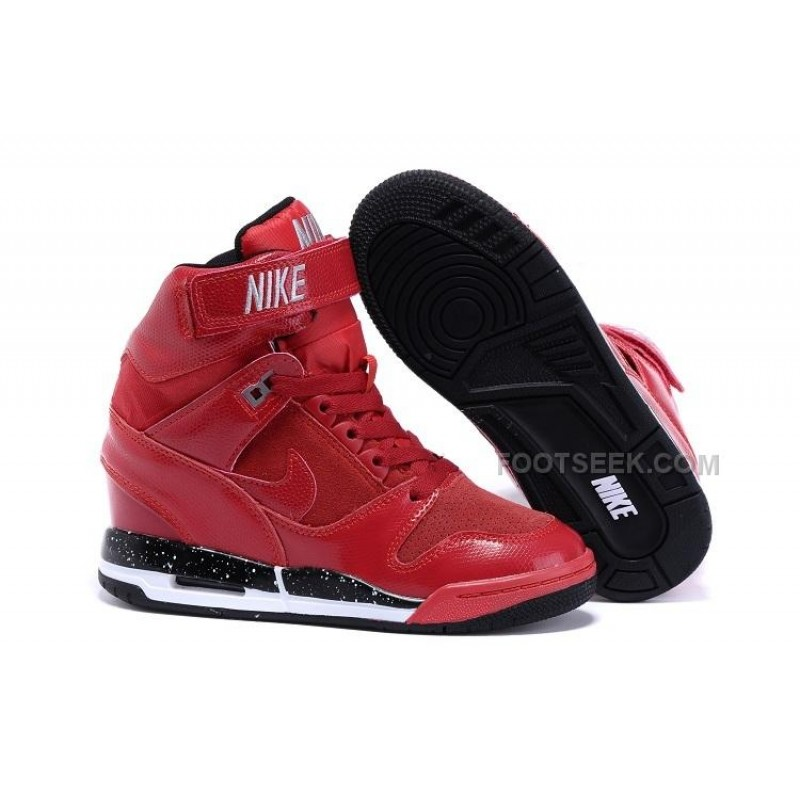 24aaf405bc Nike Wmns Air Revolution Sky Hi Shoes Hidden Heel All Red Silver With Black  Bottom Discount