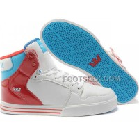Online New Supra Vaider White Red Blue Men's Shoes