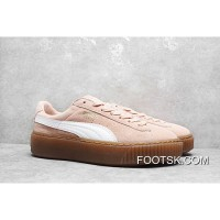 Rihanna Puma Suede Platform Core Sneakers Full Grain Leather Lining Pink White 35.5-40 New Style