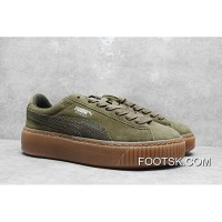 Authentic Rihanna Puma Suede Platform Core Sneakers Full Grain Leather Lining He Green 35.5-40