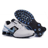 Women's Nike Shox OZ Shoes White/Black/Light Blue Online