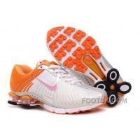 Kid's Nike Shox R4 Shoes White/Orange Free Shipping
