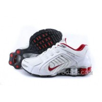 Men's Nike Shox R5 Shoes White/Grey/Red Online