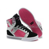 Supra Skytop Black Silver Pink Women's Shoes New