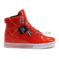 Supra Skytop Bright Red White Shoes Women's Shoes New