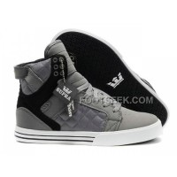 Supra Skytop Grey Black Men's Shoes New
