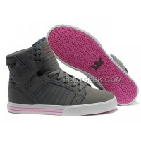 Supra Skytop Grey Pink Women's Shoes New