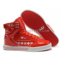 Supra Skytop Red White Snowflake Women's Shoes New