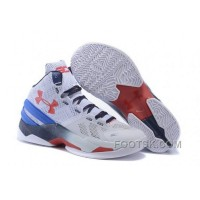 For Sale Under Armour Curry Two Kids Shoes White Blue Red Sneaker MRnYSH4