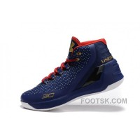 Discount Good Under Armour Curry 3 Royal Blue Gold Red New Mens Shoes GfBnKbF