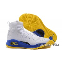 Under Armour Curry 4 Basketball Shoes White Blue Yellow Authentic