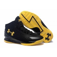 "Newest Under Armour Curry One ""Blackout"" Black/Yellow Discount Online"