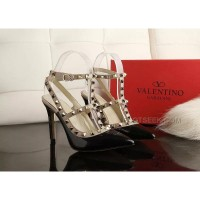 Valentino Black 10cm High Heels Calf Leather Upper Sheepskin Inner Discount