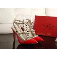 Valentino Red 10cm High Heels Calf Leather Upper Sheepskin Inner Discount