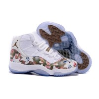 "Girls Air Jordan 11 GS ""Floral Flower"" White Brown Womens Cheap Sale"