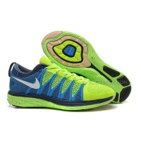 Nike Flyknit Lunar 2 Womens Fluorescent Green Blue Running Shoes