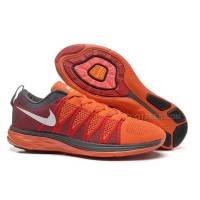 Nike Flyknit Lunar 2 Womens Orange Red Gray Running Shoes