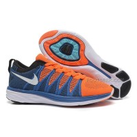 Nike Flyknit Lunar 2 Womens Orange Blue Running Shoes